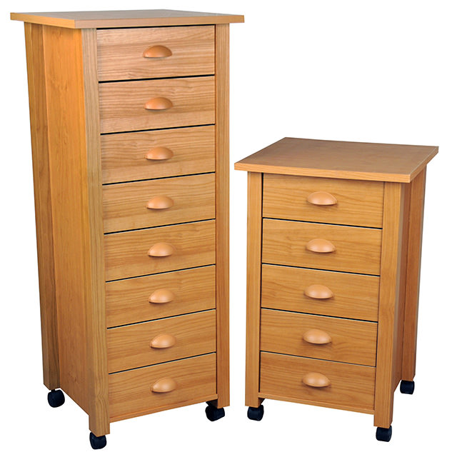 5 and 8 drawer mobile carts-oak