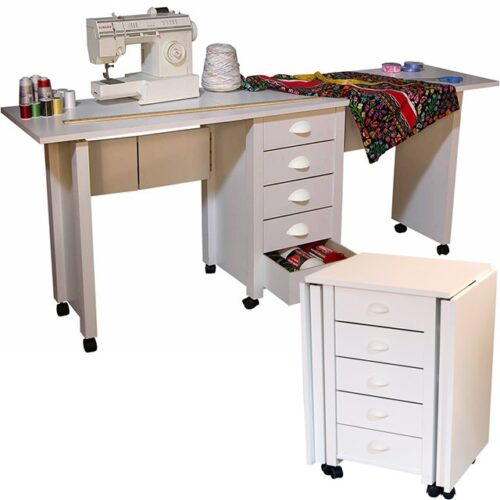 double mobile folding desk and craft center-model 1019 with inset-white