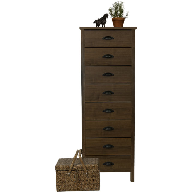 venture horizon 8 drawer lingerie bureau-front view with basket-walnut