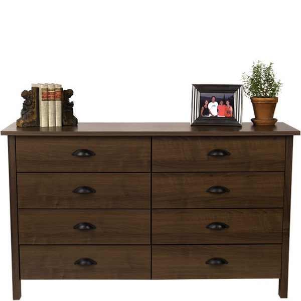 Walnut Nouvelle 8 Drawer Lowboy Chest