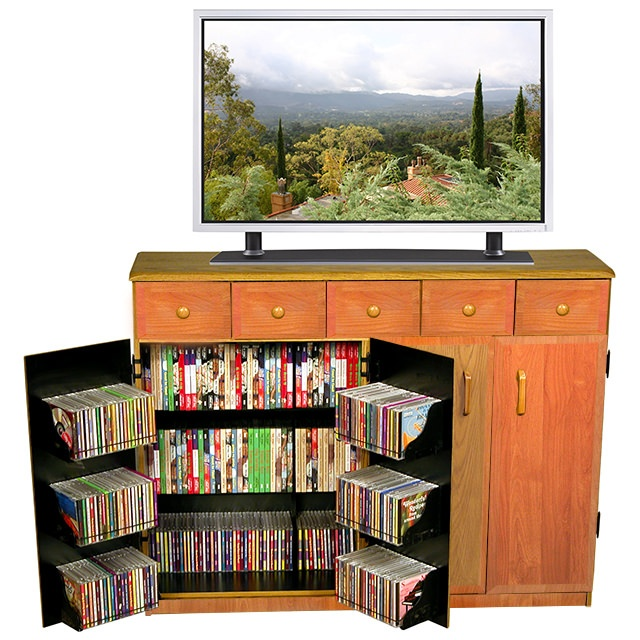 Oak Multimedia Cabinet with Drawers