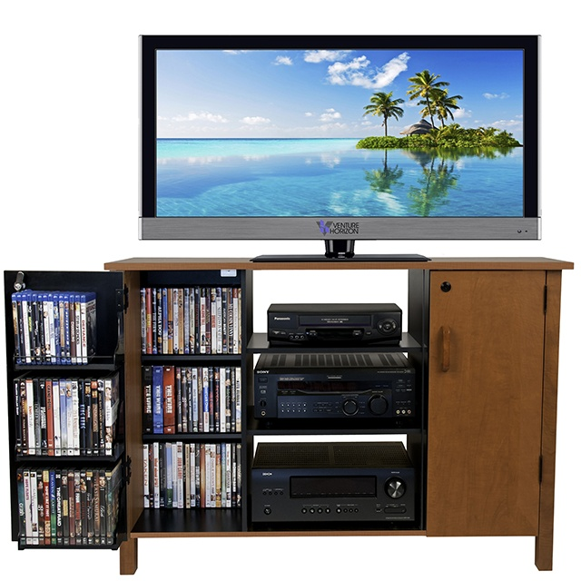 venture horizon multimedia audio-video cabinet open left door with tv-oak