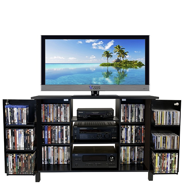 venture horizon multimedia audio-video cabinet wide open doors with tv-black