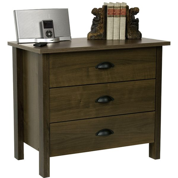 Walnut Nouvelle 3 Drawer Chest Side