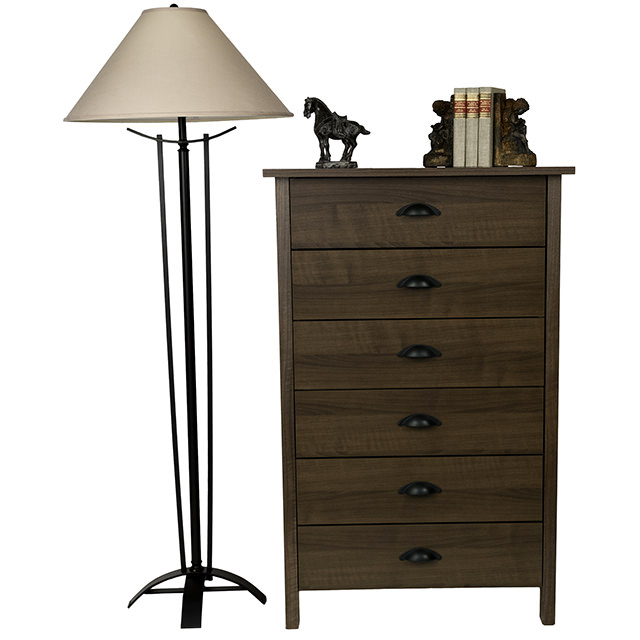 Walnut Nouvelle 6 Drawer Chest Lamp