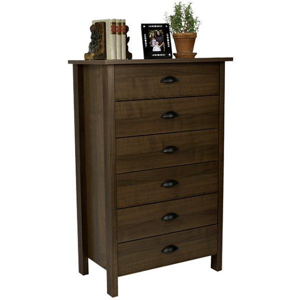 Walnut Nouvelle 6 Drawer Chest