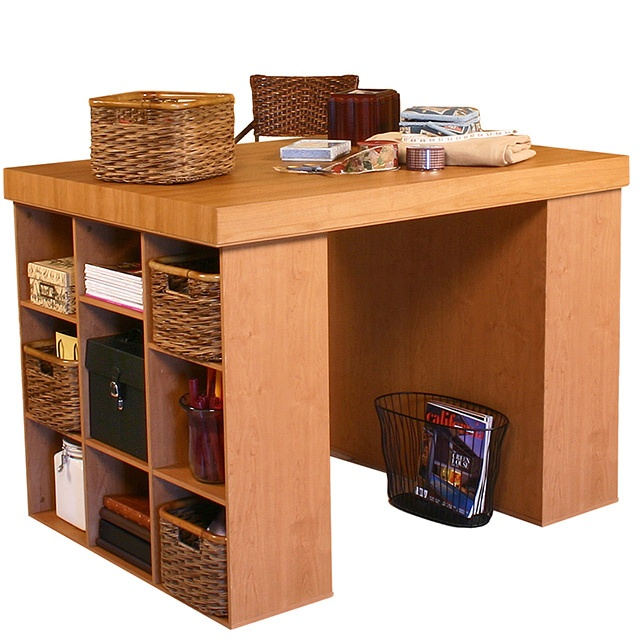 venture horizon project center-craft table-with 2 bookcases-model 1148-oak