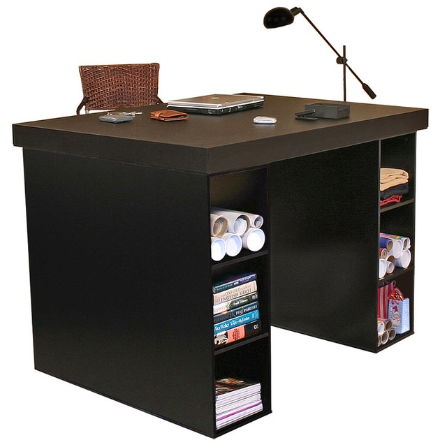 Project Center With 3 Bin Cabinets Black
