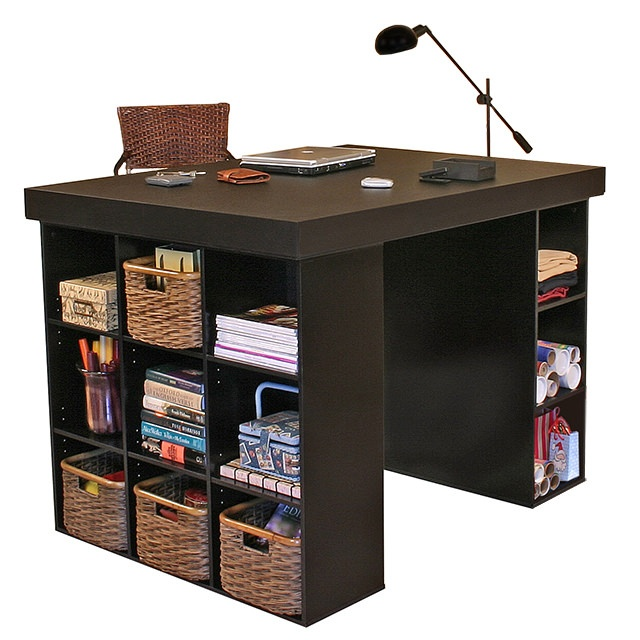 Project Center With Bookcase & 3 Bin Cabinet black