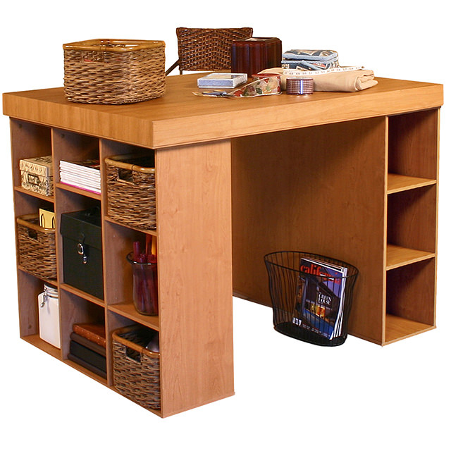 venture horizon project center-craft table-with bookcase and 3 bin-model 1151-oak