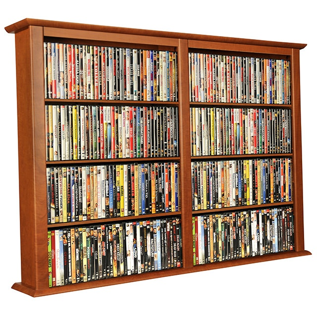Cherry Wall Mount Media Cabinet-Double