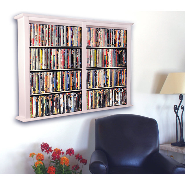 White Wall Mount Media Cabinet-Double